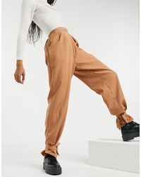 Naanaa Pantalon taille haute à chevilles nouées - Camel - Neutre