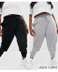ASOS Asos Design Curve Basic jogger With Tie 2 Pack Save-multi - Gray