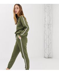 ASOS Asos Design Tall Tracksuit Cute Sweat / Basic jogger With Tie With Contrast Binding - Green