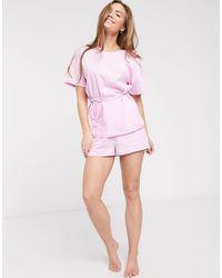 ASOS Pyjamaset Met T-shirt Met Gestrikte Zijkant En Short - Roze