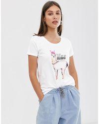 ONLY Llama Slogan T-shirt - White
