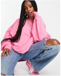 ASOS Super Oversized Cocoon Sweatshirt With Seam Detail - Pink