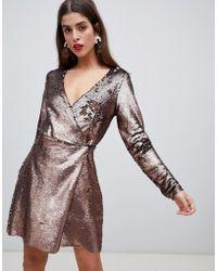 Vero Moda Sequin Midi Wrap Dress In Gold - Metallic