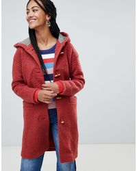 Esprit Hooded Toggle Coat With Check Lining - Orange