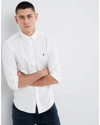 Polo Ralph Lauren - Slim Fit Garment Dyed Shirt Polo Player In White - Lyst