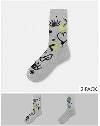 ASOS Набор Из Двух Пар Спортивных Носков Серого Цвета С Рисунком В Стиле Граффити - Серый