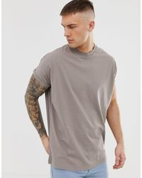 ASOS Oversized Longline T-shirt With Crew Neck With Roll Sleeve - Natural
