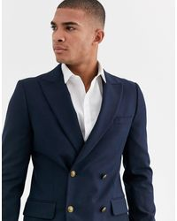 ASOS Skinny Double Breasted Blazer With Gold Button - Blue