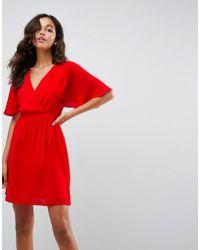 e5c7b4ecd4 ASOS Asos High Neck Flutter Sleeve Open Back Mini Dress in Pink - Lyst
