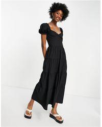 Stradivarius Черное Поплиновое Платье С Пышными Рукавами -черный Цвет