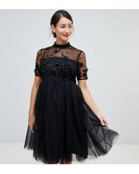 Chi Chi London - High Neck Tulle Midi Dress With Floral Applique - Lyst