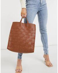 Claudia Canova Weave Tote Bag - Brown