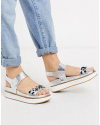 Call It Spring Umoinna Chunky Flatform Sandals - Metallic