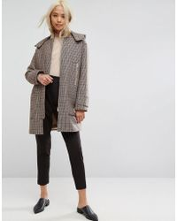 ASOS - Asos Hooded Check Coat With Rib Funnel Neck - Lyst