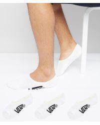 Vans   3 Pack Classic No Show Socks In White Vxttwht   Lyst