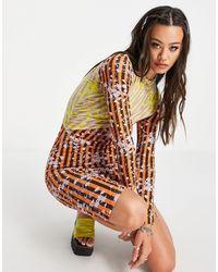 House of Holland Contrast Panelled Twist Midi Dress - Multicolour