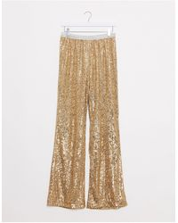 River Island Sequin Embellished Flared Trousers - Metallic