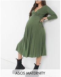 ASOS - Asos Design Maternity Long-sleeved Pleated Midi Wrap Dress - Lyst