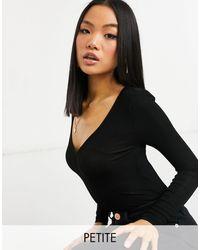 River Island V-neck Long-sleeved Bodysuit - Black