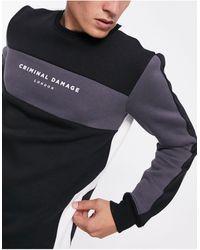 Criminal Damage Colourblock Sweatshirt - Black