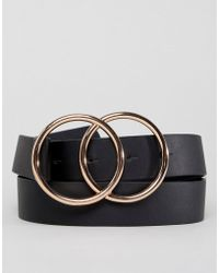 ASOS - Design Vegan Faux Leather Slim Belt With Double Circle Buckle - Lyst
