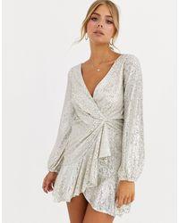 Forever New Sequin Flippy Hem Wrap Dress - Metallic