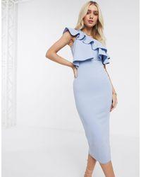 Missguided Vestido midi ajustado con escote asimétrico y volante - Azul