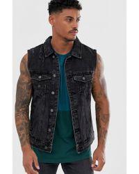 Pull&Bear Sleeveless Denim Jacket - Black