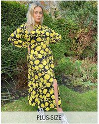 Closet London Plus Contrast Print Floral Midaxi Dress - Multicolour
