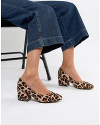 7c8a659a048 ASOS - Sahara Leather Mid Heeled Court Shoes In Leopard Print - Lyst