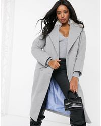 Helene Berman Double Breasted Oversized Coat With Faux Fur Collar-grey