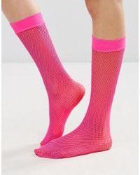 Leg Avenue Nylon Fishnet Thigh Highs - Pink