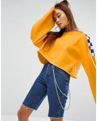 The Ragged Priest - Cropped Sweat With Wide Sleeves And Checkerboard - Lyst