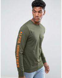 Alpha Industries Long Sleeve Top Sleeve Print In Dark Green