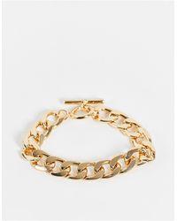 TOPSHOP Chunky Chain T Bar Bracelet - Metallic