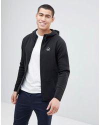 Hollister - Full Zip Hoodie Athletic Icon Logo In Black - Lyst