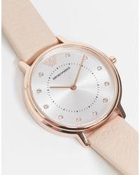 Emporio Armani Часы С Розовым Кожаным Ремешком Ar2510 Kappa-розовый Цвет