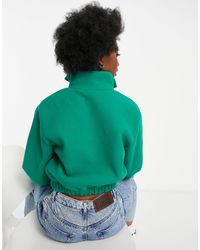 TOPSHOP Зеленый Флисовый Свитшот С Воротом На Молнии В Винтажном Стиле -зеленый Цвет