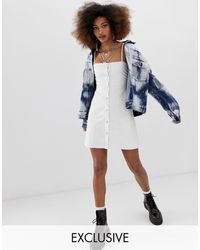 Collusion Popper Front Leather Look Mini Dress - White