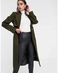 ASOS Belted Coat With Topstitching Detail - Green