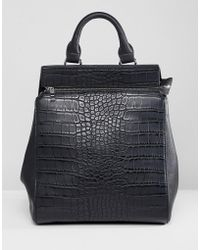 Liquorish - Croc Effect Structured Backpack - Lyst