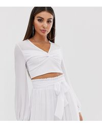 TFNC London Knot Front Long Sleeve Wrap Co-ord Crop Top In White