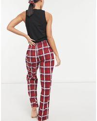 Daisy Street Pantaloni pigiama a quadri con elastico per capelli - Rosso