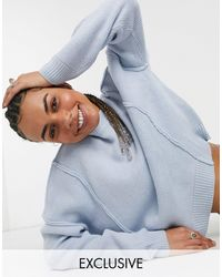 Collusion Oversized Sweater With Exposed Seam Detail - Natural