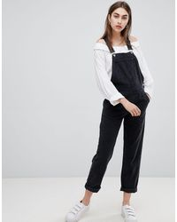 ASOS Denim Dungaree In Washed Black