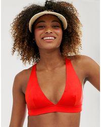 Monki Top bikini scollo profondo incrociato dietro - Rosso