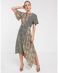 Glamorous - Asymmetrische Midaxi-jurk Met Gemengde Dierenprint - Lyst