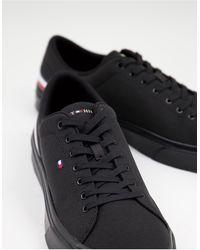 Tommy Hilfiger - Легкие Черные Кроссовки С Маленьким Логотипом-флагом -черный Цвет - Lyst