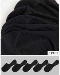 TOPMAN 5 Pack Invisible Socks - Black