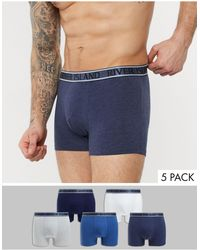 River Island 5 Pack Trunks With Metallic Waist Band - Blue